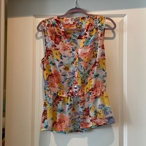 Guess floral blouse peplum tank